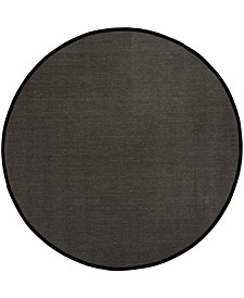 Natural Fiber Anthracite and Black 6' x 6' Sisal Weave Round Area Rug