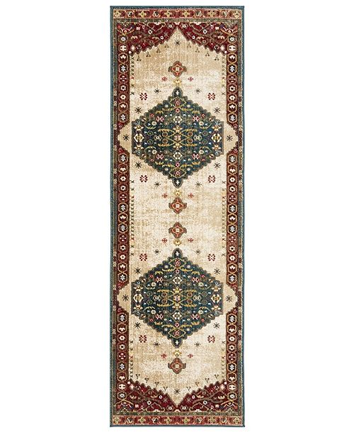 """Safavieh Kashan Blue and Red 2'6"""" x 8' Runner Area Rug"""