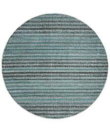 "Skyler Blue and Gray 6'7"" x 6'7"" Round Area Rug"