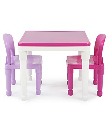 Kids Square Lego-compatible Table and 2 Chairs Set
