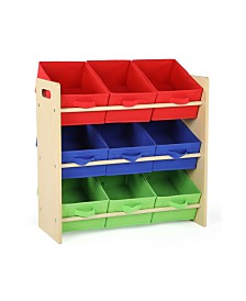 Kids Wood Toy Organizer with 9 Fabric Bins
