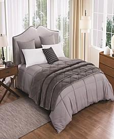2pc Velvet Blanket and Down Alternative Comforter Set Full/Queen