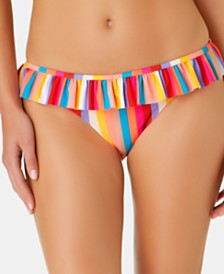 California Waves Juniors' Aruba Striped Ruffle Hipster Bottoms, Created for Macy's