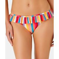 California Waves Juniors' Aruba Striped Ruffle Hipster Bottoms