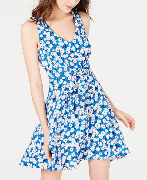B Darlin Juniors' Printed Tie-Front Dress