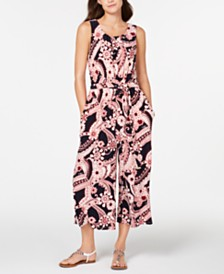 Tommy Hilfiger Paisley-Print Tie-Waist Jumpsuit, Created for Macy's