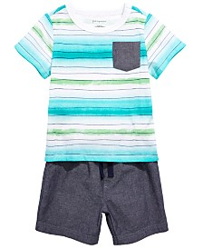 First Impressions Toddler Boys Watercolor Striped T-Shirt & Chambray Shorts, Created for Macy's