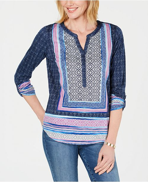 Style & Co Mixed-Print Split-Neck Tab-Sleeve Top, Created for Macy's