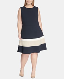Tommy Hilfiger Plus Size Scuba Fit & Flare Dress