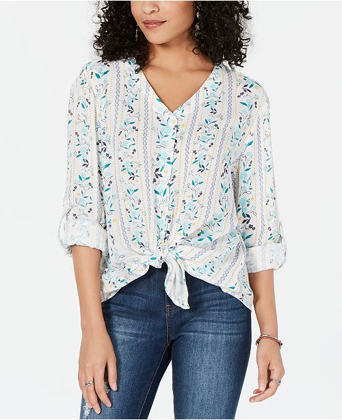Style & Co Printed Tie-Front Top, Created for Macy's