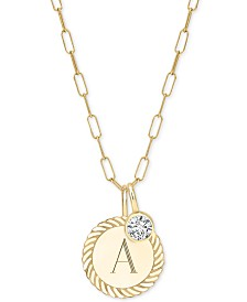 "Sarah Chloe Alara Initial Charm Long Pendant Necklace in 14k Gold-Plate Over Sterling Silver, 36"" + 2"" extender"