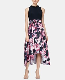 SL Fashions Floral-Print High-Low Dress