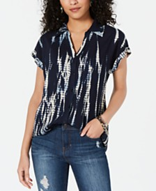 Style & Co Tie-Dye-Print High-Low Shirt, Created for Macy's