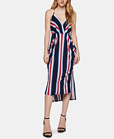 Striped High-Low Midi Dress