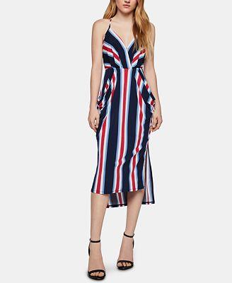 BCBGeneration Striped High-Low Midi Dress
