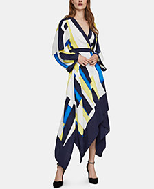 BCBGMAXAZRIA Colorblocked Asymmetrical Wrap Dress