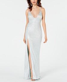 Metallic Stretch Slit Gown