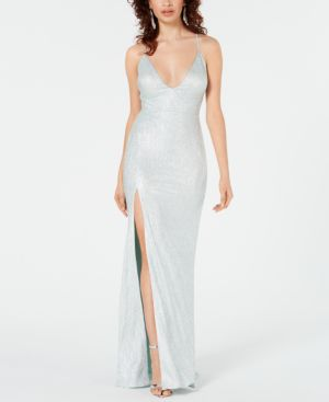 Image of Aidan by Aidan Mattox Metallic Stretch Slit Gown