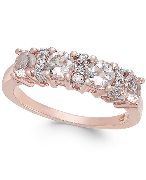 Macy's Morganite (1 ct. t.w.) & Diamond (1/10 ct. t.w.) Statement Ring in 14k Rose Gold