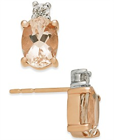 Morganite (2 ct. t.w.) & Diamond (1/10 ct. t.w.) Stud Earrings in 14k Rose Gold