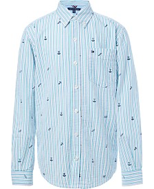 Tommy Hilfiger Big Boys Griffin Stripe Logo Shirt