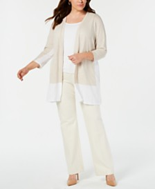 Alfani Plus Size Colorblocked Open-Front Cardigan, Created for Macy's