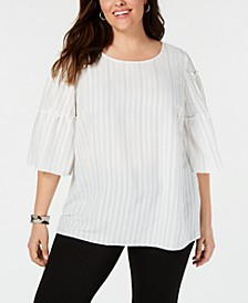 Plus Size Striped Tiered-Sleeve Top, Created for Macy's