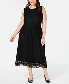 Plus Size Geo-Lace Midi Dress, Created for Macy's