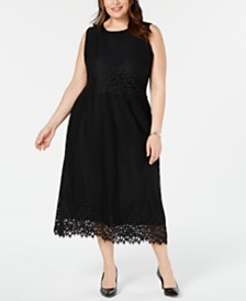 Alfani Plus Size Geo-Lace Midi Dress, Created for Macy's