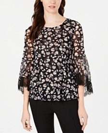 Alfani Petite Floral-Print Lace-Trim Mesh Top, Created for Macy's