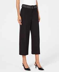 Alfani Belted Wide-Leg Cropped Pants, Created for Macy's