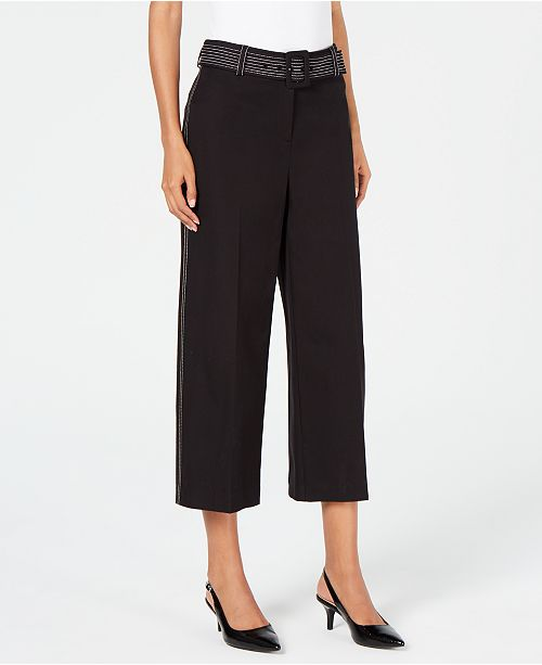 Alfani Petite Wide-Leg Capri Pants, Created for Macy's