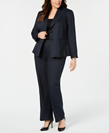 Le Suit Plus Size Striped Two-Button Pantsuit
