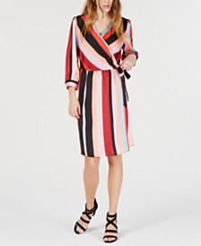 Bar III Striped Wrap Dress, Created for Macy's