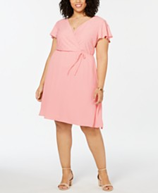 Love Squared Plus Size Eyelet-Detail Fit & Flare Dress