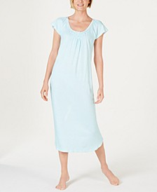 Cottonessa Stripe-Print Knit Long Nightgown