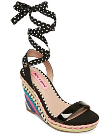 Betsey Johnson Colvin Tie-Up Wedge Sandals
