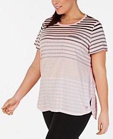 Calvin Klein Performance Plus Size Striped Pocket T-Shirt
