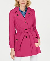 f4774335bcc London Fog Petite Hooded Water-Repellent Trench Coat