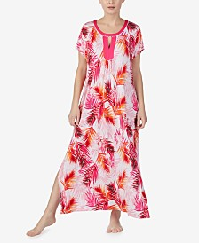 Ellen Tracy Printed Pom-Pom Trim Long Caftan