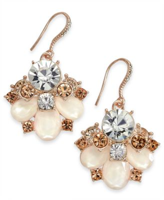 Rose Gold-Tone Crystal & Imitation Pearl Statement Earrings, Created for Macy's