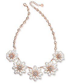 "Charter Club Gold-Tone Crystal & Imitation Pearl Flower Statement Necklace, 18"" + 2"" extender, Created for Macy's"