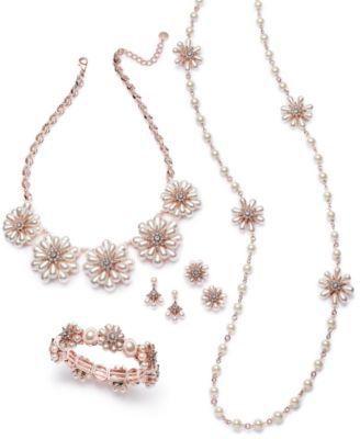 Crystal & Imitation Pearl Flower Stud Earrings, Created for Macy's