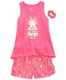 Max & Olivia Little & Big Girls 3-Pc. Pineapple Pajama Set