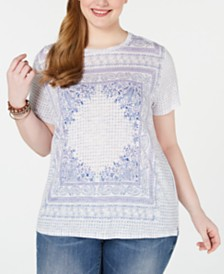 Lucky Brand Plus Size Scarf-Print T-Shirt