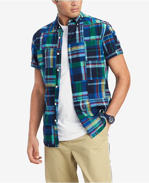 Tommy Hilfiger Men's Keaton Custom-Fit Patchwork Plaid Shirt