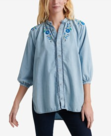 Lucky Brand Embroidered Button-Up Top