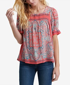 Lucky Brand Paisley-Print Smocked Top