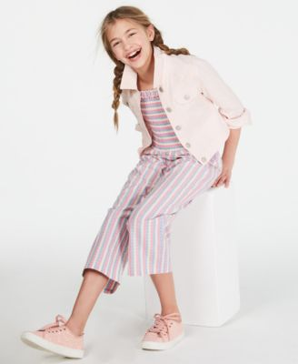 Big Girls Smocked Striped Jumpsuit, Created for Macy's