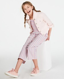 Epic Threads Big Girls Crochet-Trim Jacket & Striped Jumpsuit, Created for Macy's